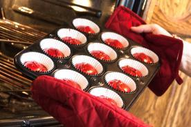 Muffin pan lined with baking cups