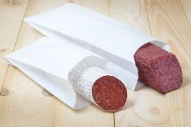 Salami in a greaseproof paper bag